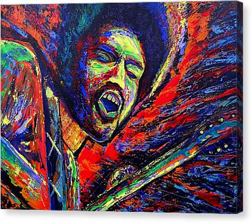 Jimi And The Blue Flames Canvas Print by Jeremy Smith