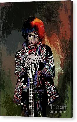 Canvas Print featuring the painting Jimi  by Andrzej Szczerski