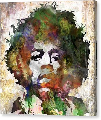 Rock Music Canvas Print - Jimi Hendrix by Bobby Zeik