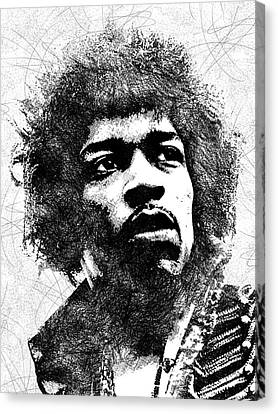 Jimi Hendrix Bw Portrait Canvas Print by Mihaela Pater