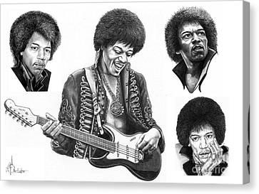 Jimi Hendrix Collage Canvas Print by Murphy Elliott