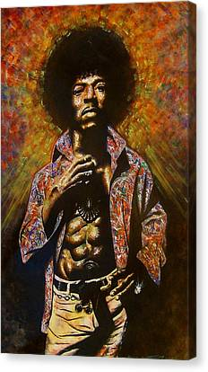 Canvas Print featuring the painting Jimi Hendrix by Darryl Matthews