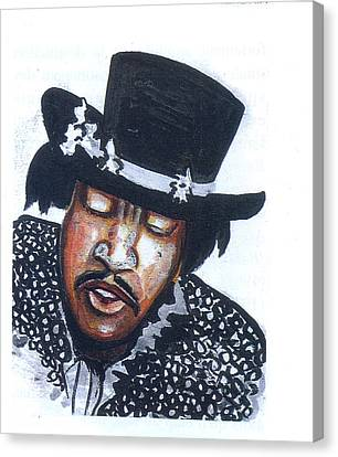 Canvas Print featuring the painting Jimi Hendrix by Emmanuel Baliyanga