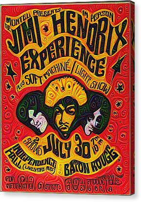 Jimi Hendrix Experiance Poster Canvas Print by Bill Cannon