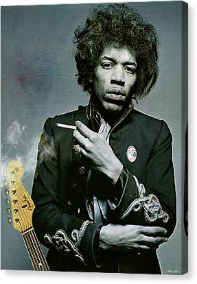 1960 Canvas Print - Jimi Hendrix, Fender Guitar by Thomas Pollart