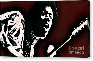 Jimi Hendrix - Graphic Art Red Canvas Print by Ian Gledhill