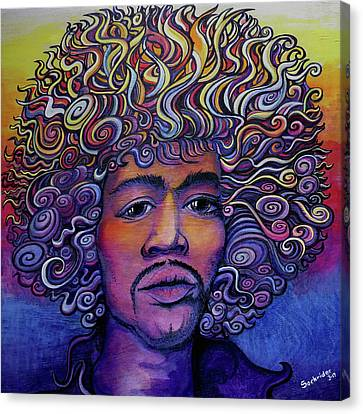 Canvas Print featuring the painting Jimi Hendrix Groove by David Sockrider