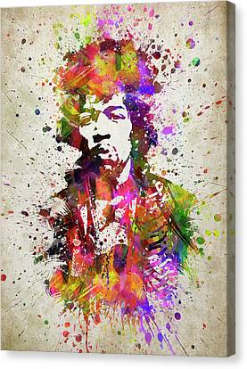 Jimi Hendrix In Color Canvas Print