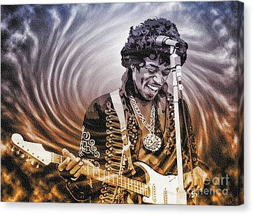 Jimi Hendrix - Legend Canvas Print by Ian Gledhill