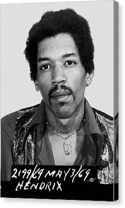Jimi Hendrix Mug Shot Vertical Canvas Print by Tony Rubino