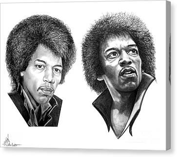 Jimi Hendrix Canvas Print by Murphy Elliott