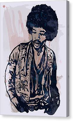 Jimi Hendrix Pop Stylised Art Sketch Poster Canvas Print by Kim Wang