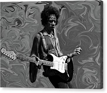 Canvas Print featuring the photograph Jimi Hendrix Purple Haze B W by David Dehner