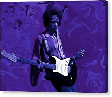 Canvas Print featuring the painting Jimi Hendrix Purple Haze P D P by David Dehner