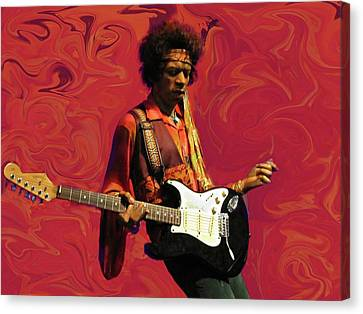 Jimi Hendrix Purple Haze Red Canvas Print by David Dehner