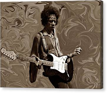 Canvas Print featuring the photograph Jimi Hendrix Purple Haze Sepia by David Dehner