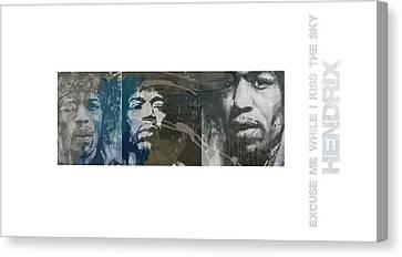 Jimi Hendrix Triptych Canvas Print