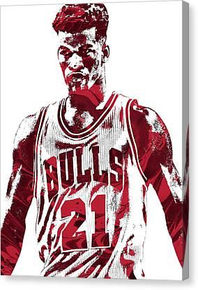 Bulls Canvas Print - Jimmy Butler Chicago Bulls Pixel Art 2 by Joe Hamilton