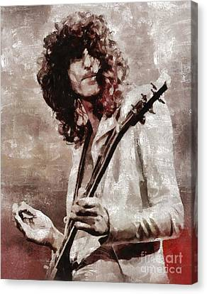 Jimmy Page Canvas Print - Jimmy Page By Mary Bassett by Mary Bassett