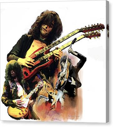 Canvas Print featuring the painting Jimmy Page  Echoes Of Pompeii by Iconic Images Art Gallery David Pucciarelli