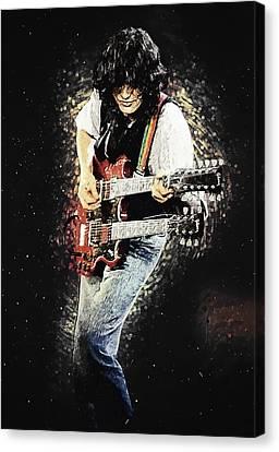 Canvas Print featuring the digital art Jimmy Page II by Taylan Apukovska