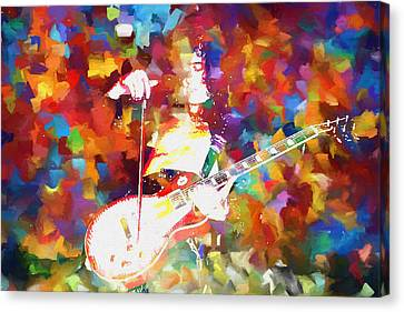 Jimmy Page Jamming Canvas Print by Dan Sproul