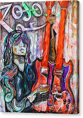 Robert Plant Performance Art Canvas Print - Jimmy Page - Original Art - Gibson Eds-1275 Double Neck, Zoso,  by Paco Rocha