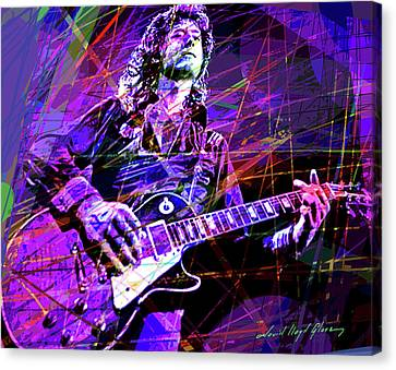 Jimmy Page Canvas Print - Jimmy Page Solos by David Lloyd Glover