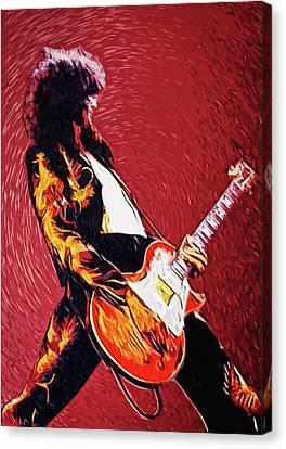 Robert Plant Canvas Print - Jimmy Page  by Taylan Apukovska