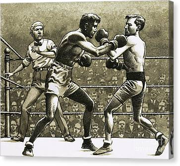 Jimmy Wilde Boxing Pancho Villa In New York Canvas Print by Pat Nicolle
