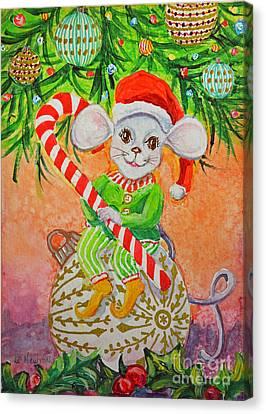 Jingle Mouse Canvas Print by Li Newton