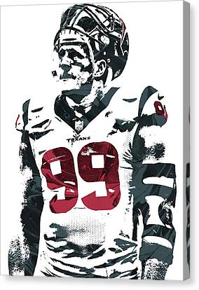 Jj Watt Houston Texans Pixel Art 4 Canvas Print by Joe Hamilton