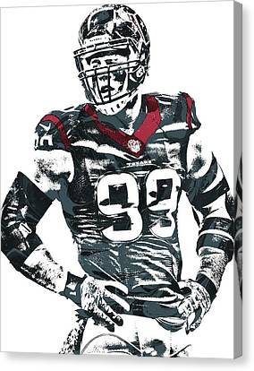 Jj Watt Houston Texans Pixel Art 5 Canvas Print by Joe Hamilton
