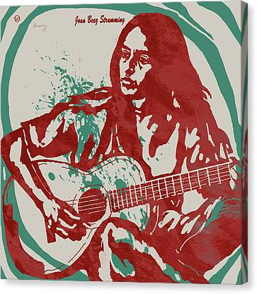 Joan Baez Strumming Pop Stylised Art Sketch Poster Canvas Print by Kim Wang
