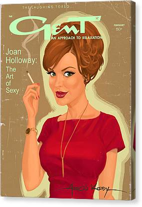 Joan Holloway In Gent Canvas Print by Aaron Kirby