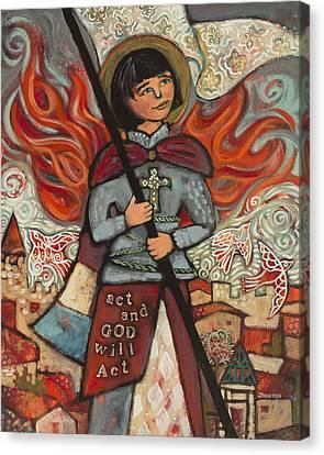 Joan Of Arc Canvas Print by Jen Norton