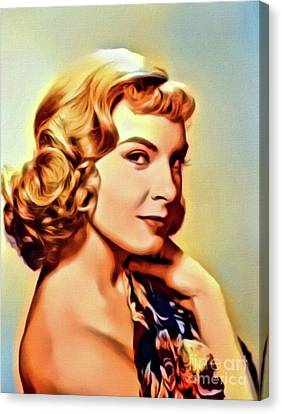 Joanne Woodward, Vintage Actress. Digital Art By Mb Canvas Print by Mary Bassett