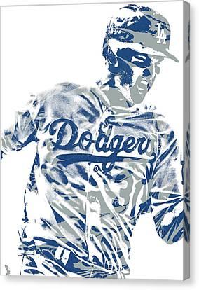 Cities Canvas Print - Joc Pederson Los Angeles Dodgers Pixel Art 10 by Joe Hamilton