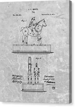 Jockey Toy Patent Charcoal Canvas Print