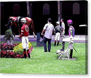 Canvas Print featuring the digital art Jockeys Painting by  Newwwman