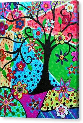 Canvas Print featuring the painting Jodi's Tree Of Life by Pristine Cartera Turkus