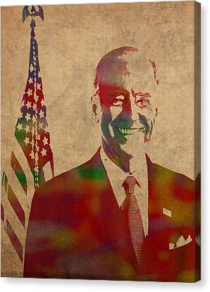 Joe Biden Watercolor Portrait Canvas Print