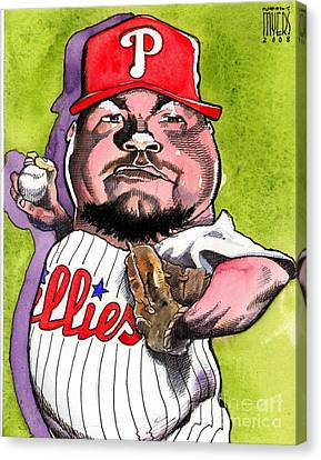 Joe Blanton -phillies Canvas Print by Robert  Myers