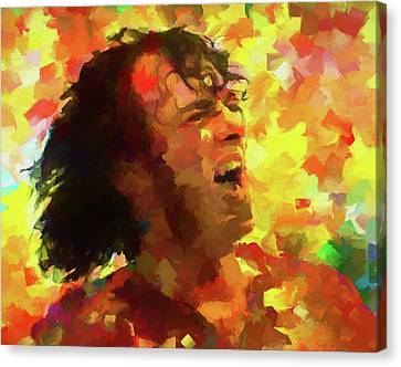 Joe Cocker Colorful Palette Knife Canvas Print by Dan Sproul