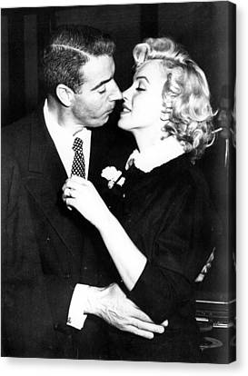 1950s Portraits Canvas Print - Joe Dimaggio, Marilyn Monroe by Everett