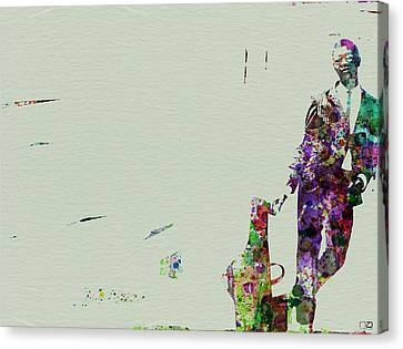 Joe Henderson Watercolor 2 Canvas Print by Naxart Studio