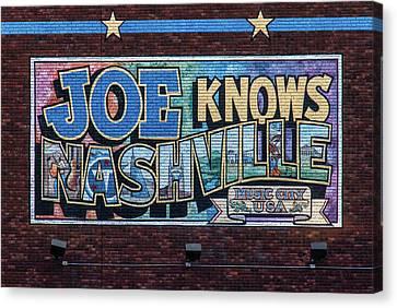 Joe Knows Nashville Canvas Print