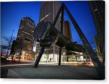 Joe Louis Fist Statue Jefferson And Woodward Ave. Detroit Michigan Canvas Print