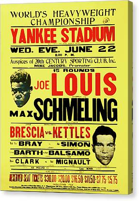 Joe Louis Vs Max Schmeling Canvas Print by Bill Cannon