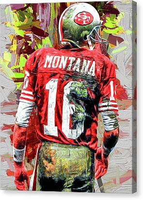 Joe Montana Football Digital Fantasy Painting San Francisco 49ers Canvas Print by David Haskett